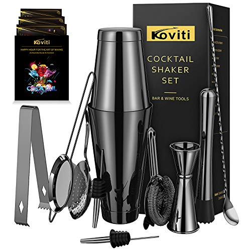 Cocktail Shaker - Koviti 12 Piece Bartender Kit - Stainless Steel Cocktail Shaker Set, Premium Bar Tools : Martini Shaker, Muddler, Jigge, Mixing Spoon, Strainers, Ice Tong, Liquor Pourers