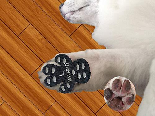 VALFRID Protezioni Zampa di Cane Antiscivolo Traction Pad 24 Pezzi,USA e Getta Autoadesivo Resistente Cane Calze Scarpe per Cani Sostituzione L