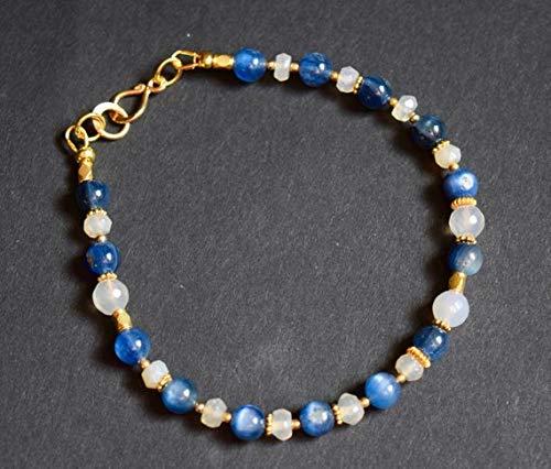 JEWEL BEADS Beautiful jewelry AAA++ Quality Kyanite and Chalcedony Bracelet~ Angels and Dreams Bracelet~Beaded Stone Bracelet~ Gold Bracelets 4mm Code- UKA-9727