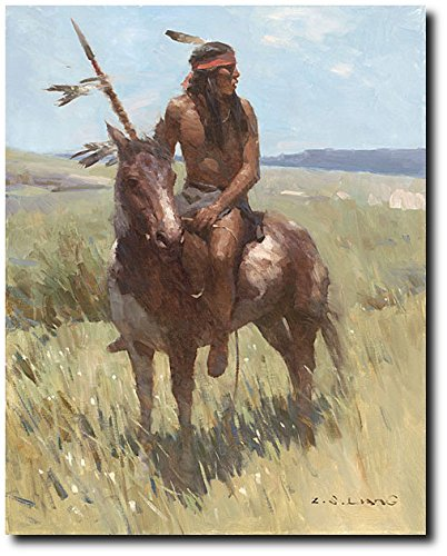 Young Scout by Z.S. Liang - Plains Warrior - Indian Art - Native People - Canvas