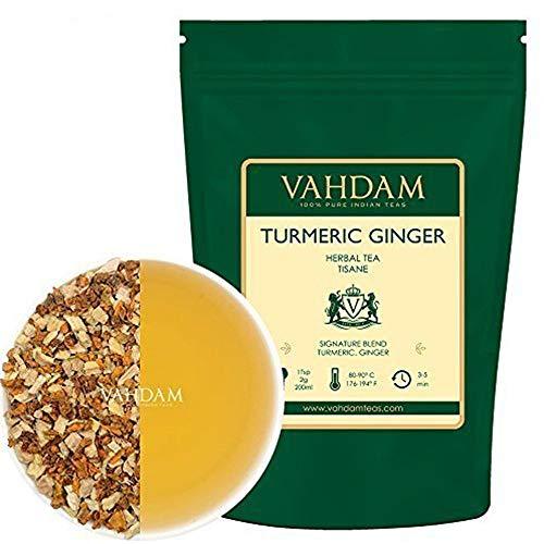 VAHDAM, Kurkuma-Ingwer-Kräutertee Loose Leaf | (100 Tassen) | Indiens Wundergewürz | Kurkuma-Tee & Ingwer-Tee | 100% natürlicher Tisane Tee | Bio Loser Tee | Brauen Sie als...