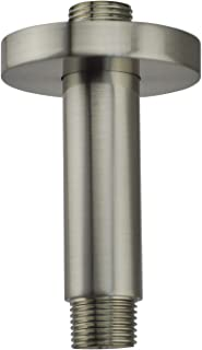 Aquaiaw Shower Arm and Flange, 3 inch, Solid Brass, Round, Brushed Nickel, Both 1/2 NPT Shower Extension, Straight Shower Arm Extension, Ceiling Mount Shower Head Extension Arm, Rain Shower Head Arm