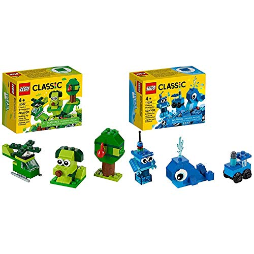 LEGO Classic Creative Green Bricks 11007 Starter Set Building Kit & Creative Blue Bricks 11006 Kids' Building Toy Starter Set
