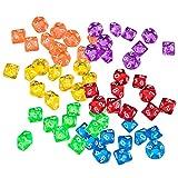 F Fityle 60 Piezas Acrílico Diez Dados Múltiples Lados Juego Dados Regalos para Niños Juegos para Amantes Multicolor 30 Mm