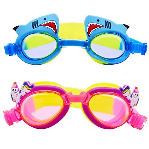 Miotlsy Gafas De Natación Niños 2 Piezas Gafas De Natación, Gafas Piscina Anti-Vaho Impermeable Anti-Uv Polarizada, Correa Ajustable Comodidad 3-15 Años Niños De La Juventud Color Azul Púrpura
