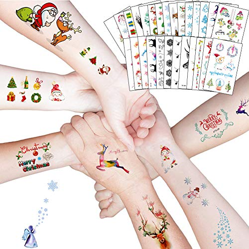 220x Navidad Tatuajes Temporales Nios Nias, La Misa Del Gallo Tatuaje Falso Pegatinas Dibujos Animados para Infantiles de favor de Nochevieja fiesta Bolsa de regalo