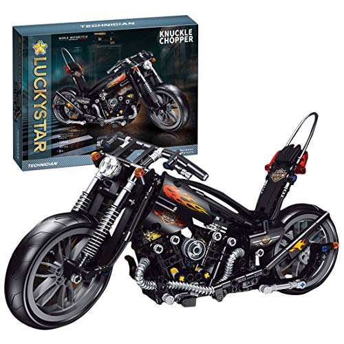 Lommer Technik Motorrad Amerikanisches Motorrad, 451 Klemmbausteine Technik Rennen Motorrad Modell, Bausteine Bausatz Kompatibel mit Lego Technic