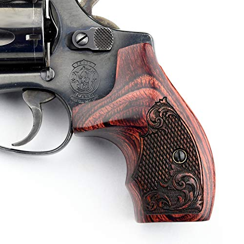 Altamont - S&W J Round Revolver Grips - Boot - Real Wood Gun Grips fit Smith & Wesson J Frame Round Butt .38 Special and 9mm Revolvers - Made in USA - Rosewood - Engraved