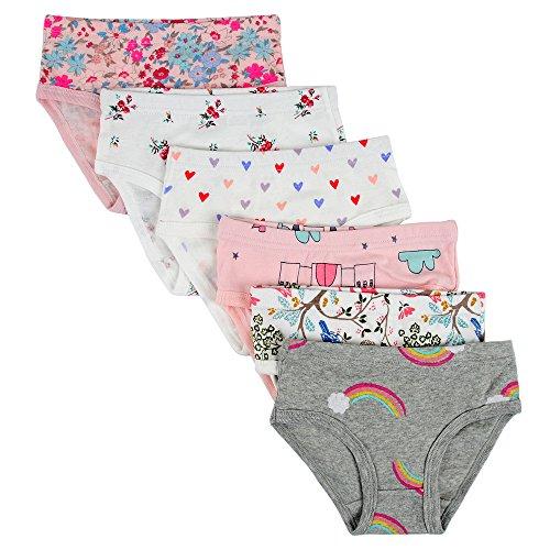 Kidear Unterwäsche für Kinder, weiche Baumwolle, für Mädchen, verschiedene Muster, 6er-Packung Gr. 3-4 Jahre/Etikettgröße- 110, Stil 6