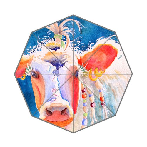Flipped zomer Y mooie koe schilderij aquarel aangepaste kunst prints paraplu