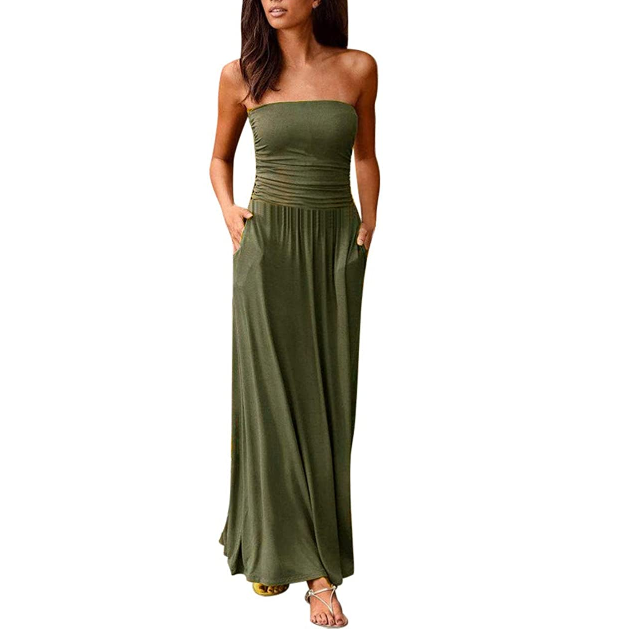 Womens Off Shoulder Long Dress Bandeau Slash Neck Ladies Summer Holiday Solid Maxi Dress ezidsztzrlv54343