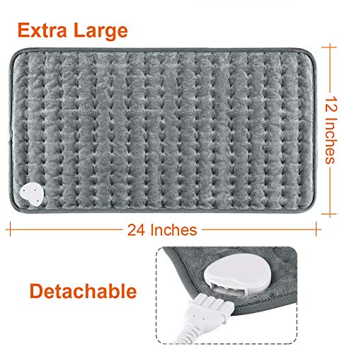 DIZA100 Heating Pad with Auto Shut Off, Fast Heating Technology, Machine Washable,Soft Flannel Safe Heating Pad for Body Relaxation (12 x 24 inches)(Dark Gray)