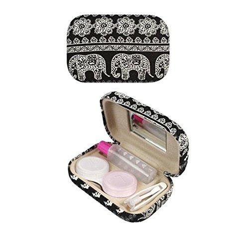 Kontaktlinsenbehälter Kontaktlinse-Kasten Bohemia Elephant Muster Kontaktlinsen Reisetasche mit Spiegel (Schwarzer Kontaktlinsenbehälter)