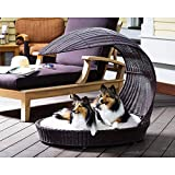 The Refined Canine Outdoor Dog Chaise Bed w/Shade Hood, Waterproof Poly Rattan Lounger with Washable Cushion, Espresso, Chaise-ES-AMZ
