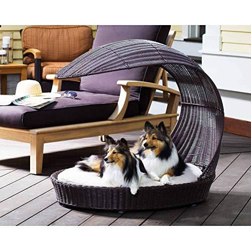 The Refined Canine Chaise-ES-AMZ Chaise-ES-AMZ Hundebett mit Schattenhaube, wasserdicht, Polyrattan-Liege mit waschbarem Kissen, Espresso
