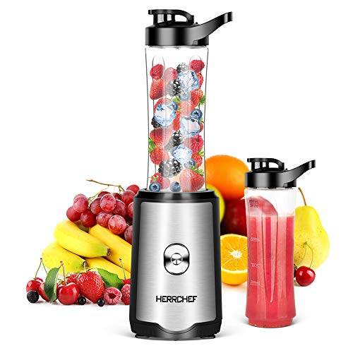 Smoothie Blender, Herrchef Personal Blender for Shakes and Smoothies, 350W Single Serve Blender for Fruits and Vegetables Drinks with 2 x 20oz Tritan BPA-Free Travel Sport Bottles