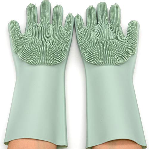 TTi Dishwashing Gloves, Bristles Scrubber Glove for Home Kitchen, Dish Washing, Pans Cleaning, Pet Bathing & Hair Removal, Soft Silicone Brush Sponge –Durable, Waterproof, Easy to Foam (Turquoise)