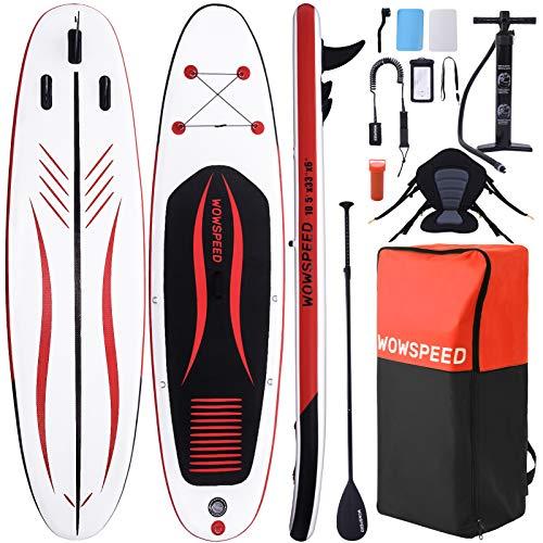 OneV FT Tabla Paddle Surf Hinchable, 320x84x15cm 135kg Paddle Surf, Sup Paddle Tabla Surf,con Asiento Mochila Correa Remo y Bomba de Mano, Carga hasta 130kg (Rojo Negro)