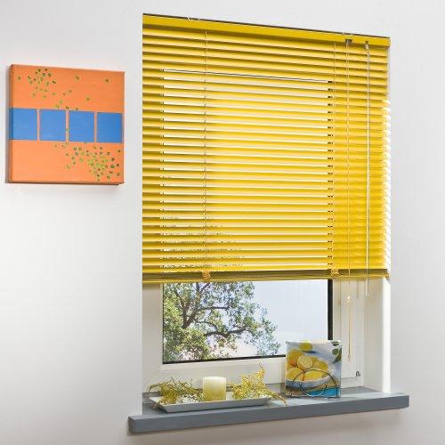 Liedeco Jalousie aus Aluminium Sonnen-Gelb, Jalousie für Fenster und Tür B 180 cm x L 160 cm