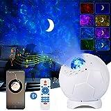 Luz de proyector de estrella LED de fútbol, ALED LIGHT 4 en 1 Ocean Wave Moon Star luz con control remoto IR, altavoz Bluetooth integrado y sonido activado, luz para niños para niños
