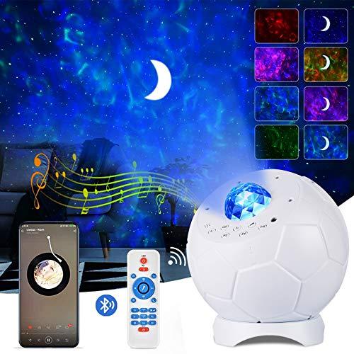 Sternenhimmel LED Projektor Lampe, ALED LIGHT LED Fußball Lampe mit Fernbedienung 4 in 1 Wasserwelle Stern Mond Sternenhimmel Projektor Lichter Musik Nachtlicht Party Home Decor Weihnachts Geschenk