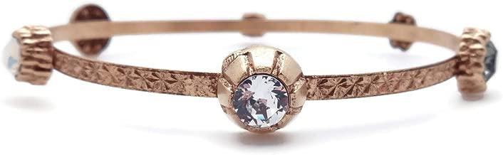 Catherine Popesco Dark Grey & CLR Swarovski Crystal Goldtone Bangle Bracelet