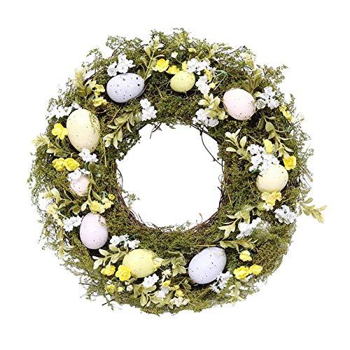 Bonarty Spring Easter Egg Wreath 35cm Garland Hanging Door Farmhouse Decor Ornament