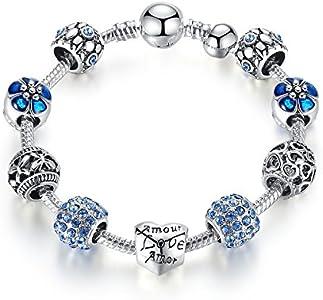 Pulsera Charms de Mujer Plateado de Plata con Azul Abalorio Murano Cristal Regalo para Mujer Niña Cumpleaños 21 centimetre