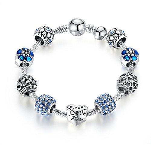 Pulsera Charms de Mujer Plateado de Plata con Azul Abalorio Murano Cristal...