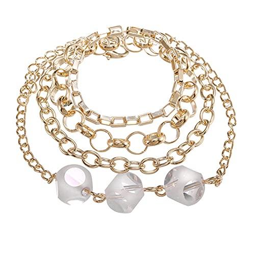 QFSLR Pulseras para Mujer Pulsera De Cristal Pulsera En Capas Ajustable Moda, Oro