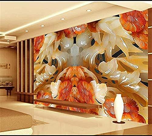 Mssdebz 3D behang eigen 3D fotobehang voor de woonkamer muurschildering pruimenbloesem Jade snijafbeelding bank tv achtergrond vliesbehang voor wand 3D 300cmx210cm