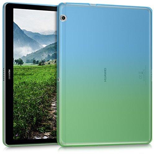 kwmobile Cover Compatibile con Huawei MediaPad T3 10 - Custodia Cover Tablet in Silicone TPU - Copertina Protettiva Tab - Backcover - 2 Colori Blu Verde Trasparente