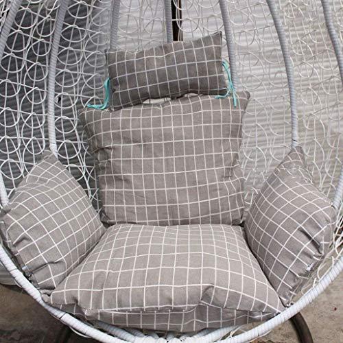 El columpio que cuelga de la rota silla suave del amortiguador silla colgante de huevo Cojín for jardín al aire libre Patio colgando Tejido de mimbre muebles, 110x120cm (43.3x47.2 pulgadas) (Color: D)