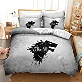 DFTY Set biancheria da letto – copripiumino e 1/2 federa in microfibra, 3D Digital Print Set di 3 pezzi, Games of Thrones, 8, 220 x 240 cm