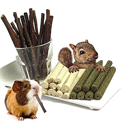 3 Types of Combined Chew Toys Molar Sticks Sweet Bamboo Apple Branch Timothy Grass for Pets Chinchilla Squirrel Gerbil Hamster Squirrel Guinea Pigs (150g)