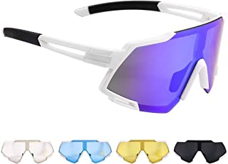 Polarized Sports Sunglasses,LUBUY UV 400 Protection Unbreakable Big Screen Sports Glasses with 5 Interchangeable Lens, Spo...