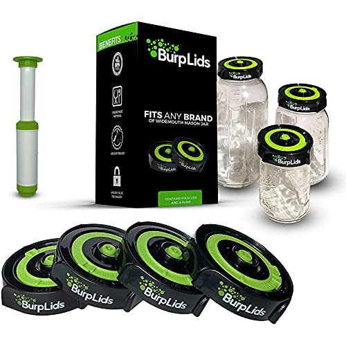 Burp Lids Curing Kit - Fits All Wide Mouth Mason Jar Containers - A Home Harvesting Essential. 4 lids + extraction pump. Vacuum sealed for successful cure.