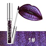 XCBCVHG Brillo de Labios Glitter, Liquido Brillo Labial Larga Duracion Impermeable Plumper Cosmético Make Up Lipstick Lip Gloss Maquillaje de Belleza 4ML
