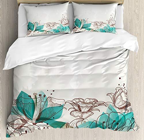 Juego de funda nórdica turquesa, fondo floral retro con siluetas de hibisco Arte dramático de la naturaleza romántica, juego de cama decorativo de 3 piezas con 2 fundas de almohada, verde azulado beig