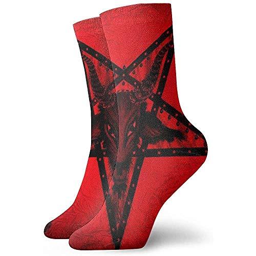 Gre Rry Satan Gemälde - Baphomet Satanic Pentagram Crew Socken Lässige Bequeme Kleidersocken
