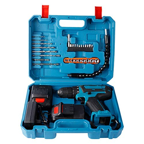 Timetided Cordless Electric Screwdriver Rechargeable Dual Speed Cordless Drill 3IN1 Screwdriver Hammer Impact Hand Power Tools