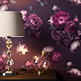 NEWROOM Blumentapete Tapete Schwarz Rosen Blumen Floral Papiertapete Violett Papier moderne Design Optik Tapete Natur inkl. Tapezier Ratgeber