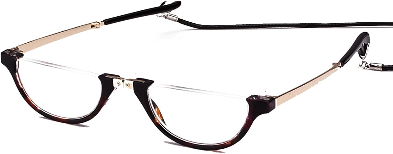 Agstum Mens Womens Half Moon Foldable Reading Glasses with Portable Case