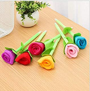 TANG SONG 12PCS Novelty Cute Rose Decor Ballpoint Pen Office School Supplies Students Children Gift (0.5mm Blue Ink,RANDOM COLOR)