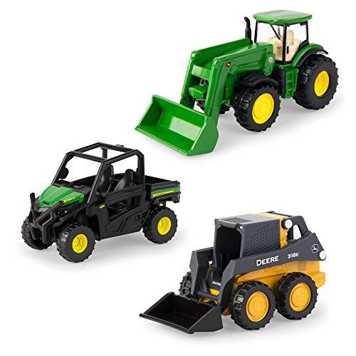 ERTL 3  Iron 3 Pack of John Deere Die-Cast Replicas - Tractor  Gator and Skid Steer Toys   Green