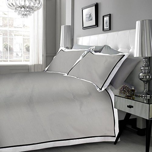 [hachette] 200TC [MAYFAIR GREY BLACK WHITE] 100% EGYPTIAN COTTON DUVET COVER BEDDING BED SET WITH PILLOWCASES 200 THREAD COUNT (Grey Silver, King)