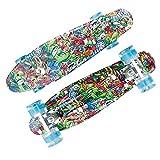Skateboard,Monopatín,Mini Cruiser,55x14cm,Completo Patineta,Patinete Retro,Longboard,con PU Rueda Flash,Rodamiento ABEC-7,Tabla de Skateboard,para Adolescentes Principiantes Niñas Niños Adultos
