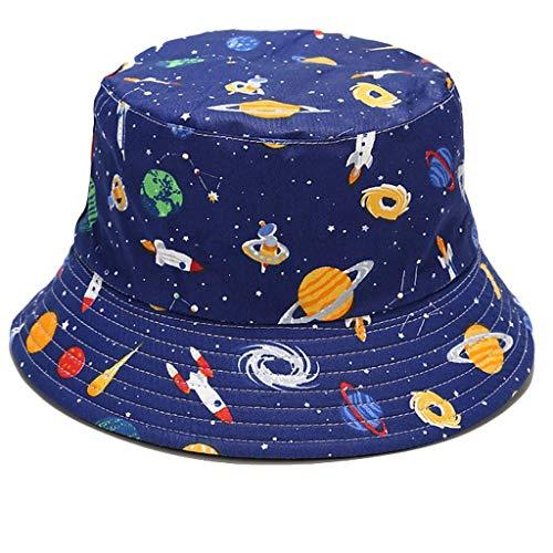 Beiyasi Gorra de sol Unisex con estampado de dibujos animados al aire libre Sombrero de lavabo de doble cara para la playa Sombrero de lavabo de doble cara con estampado de dibujos animados diario A #