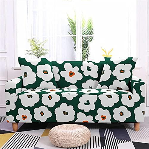 AHKGGM Funda de sofá Estampada Flores Verdes y Blancas 3 plazas: 190-230cm