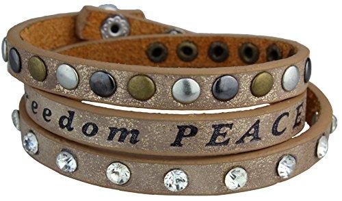 Alex Flittner Designs Vintage Nieten Armband Love Freedom Peace Dream Lucky mit Strass und verschiedenfarbigen Nieten, Kunstleder Armband, Wickelarmband Farbe: Gold